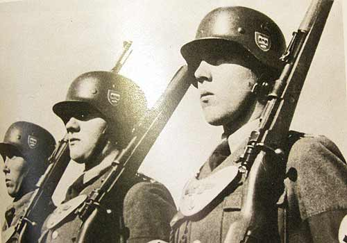 German WW2 M45 Helmet in use